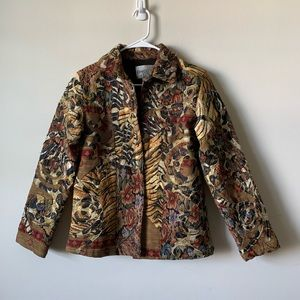 Chico's tapestry jacquard patchwork jacket